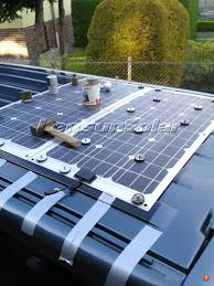 solar panels on roof volkswagen vw t4 or t5 camping vans bus install flexible solar