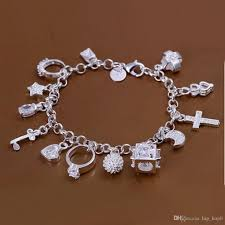 silver bracelet with charms images 13 charms 925 sterling silver bracelet cross ball lock key moon jpg