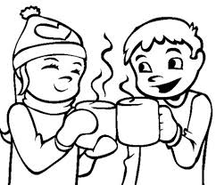 two children warm coffee drink water coloring pages for kids l0