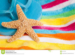 flip flop towel starfish and flip flops on a towel stock image image of