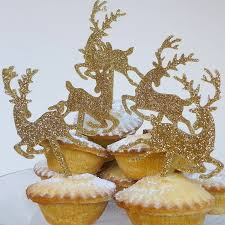 Reindeer Decoration Gold Glitter Christmas Reindeer Cake Topper By Miss Cake