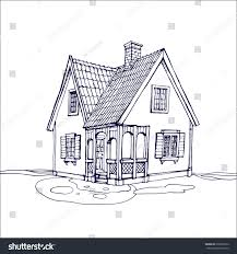 victorian cute little house outline ink stock vector 678260512