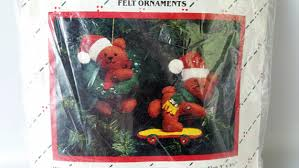 vintage skateboard bear felt christmas ornament kit traditions