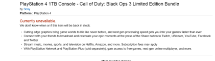 amazon playstation 4 console black friday updated call of duty blacks ops 3 limited edition 1tb ps4 bundle