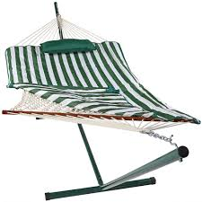 Patio Furniture Foot Pads by Sunnydaze Green And White Stripe Cotton Hammock With 12 Foot