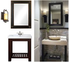 black sink and toilet on the black floor combined with mirror and bathroom cream sink and base with black wooden legs combined with mirror with black