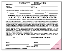 warranty disclaimer forms 100 per pack