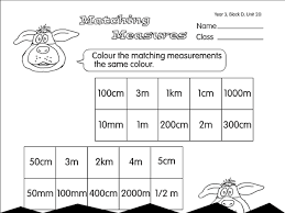 matching measures a year 3 units of measurement worksheet