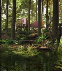 forest render pine forest lake house on behance
