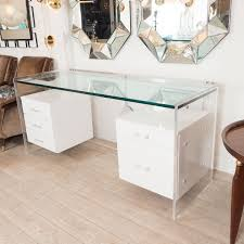 Glass Desk With Storage Bedroom White Glass Desk With Hanging Lacquered Drawers Cool
