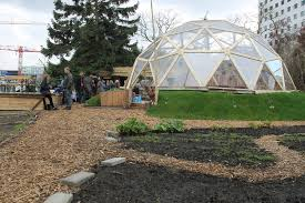 green living lab geodesic dome designed and build by sober industries