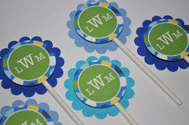 Personalized Party Decorations 12 Boy U0027s 1st Birthday Party Cupcake Toppers Blue Polkadots