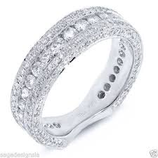 womens white gold wedding bands womens 18k white gold diamond flat shank wedding band