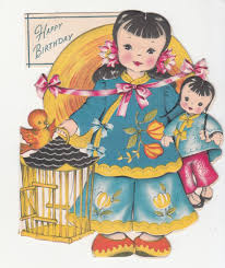 martini birthday card happy birthday chinese doll bird cage folding vintage