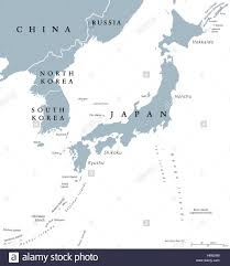 Asia Map Labeled by Korean Peninsula And Japan Countries Political Map With National