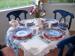 Beautiful Place Settings Saltbox Treasures Red White And Blue Toile Tea Party