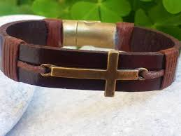 leather bracelet with cross images Mens leather bracelet cross bracelet men 39 s leather cross jpg