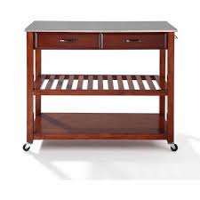 cherry kitchen island cart crosley furniture stainless steel top kitchen cart with optional