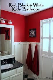 Kids Bathroom Makeover - eating in the shower red black u0026 white kids u0027 bathroom