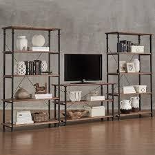 Desk And Bookshelf Combo Myra Vintage Industrial Modern Rustic 3 Piece Tv Stand 40 Inch