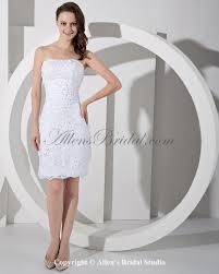 allens bridal lace strapless short sheath wedding dress with