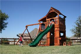mustang swing set lower cabin backyard fun factory