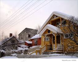 residential architecture houses in winter landscape stock image