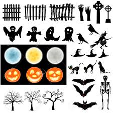 halloween background witch moon halloween holiday elements set collection with bat ghost grave