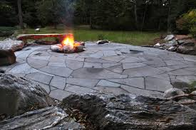 Flagstone Firepit Indian Run Landscaping Flagstone Patio With Pit