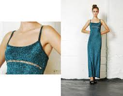 90s dress vintage 90s metallic teal rhinestone studded cut outs party