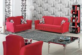 red fabric modern convertible sofa bed w optional items
