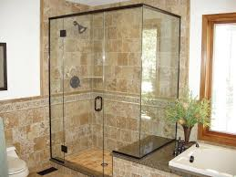 wonderful glass enclosed showers on bathroom with custom mirrors