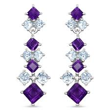 blue topaz earrings amethyst and blue topaz earrings jari deal