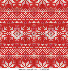 christmas knitting seamless pattern red white stock vector
