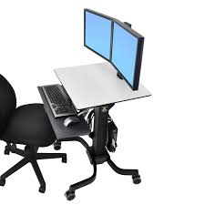 Computer Desks For Dual Monitors Standing Workstation Workfit C Dual Monitor Mobile Cart Ergotron