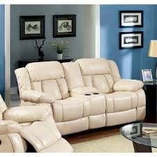 ivory leather reclining sofa furniture of america frey leather reclining loveseat in ivory idf