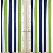 Nursery Curtain Panels by Sweet Jojo Designs Navy Blue And Lime Green Stripe Curtain Panel