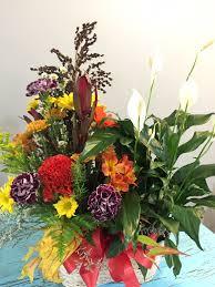 basket arrangements mixed basket of green plants and fresh flower arrangements in troy