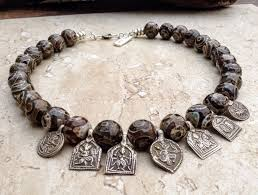 silver agate necklace images Vintage tribal silver old indian hindu deities dzi agate necklace PNG