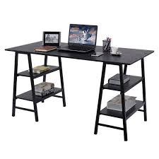 Laptop Writing Desk Costway 55 Trestle Computer Desk Pc Laptop Writing Table Shelves