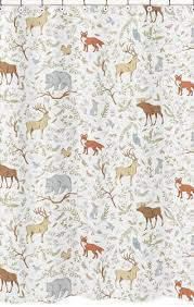 Animal Shower Curtain Woodland Animal Toile Kids Bathroom Fabric Bath Shower Curtain By