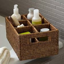 6 compartment rattan basket living organized pinterest