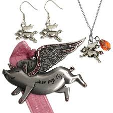 gloria duchin flying pig ornament necklace and earrings jewelry