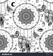 hand drawn seamless pattern native american stock vector 394287103