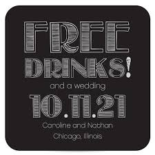 save the date coasters black and white coaster save the date free drinks gatsby pixie
