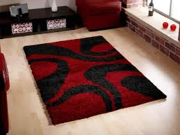 Orange Area Rug With White Swirls Contemporary Family Room With Red Black Geometric Flokati Rugs