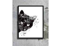 watercolor art print black cat painting cat poster halloween decor
