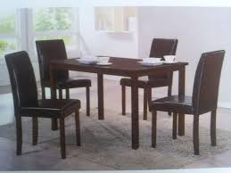 furniture kitchen table dining table set with chairs in matt black leatherette