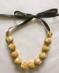 etsy handmade bead necklace images Mustard liberty fabric bead necklace mustard capel liberty etsy jpg