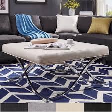 overstock ottoman coffee table solene x base square ottoman coffee table chrome by inspire q